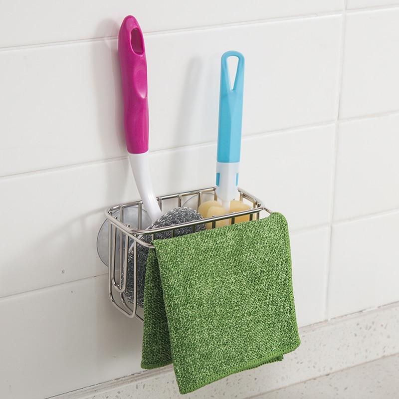 Brush Holder Sponge Suction Sink Draining Washing Towel Rack Holder W
