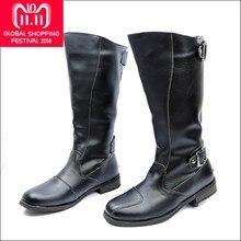 Zorssar  2018 alta calidad cuero Pu hombres rodilla botas altas negro botas  militares hombres botas largas zapatos de cuero inv. 5a03fe73aed03