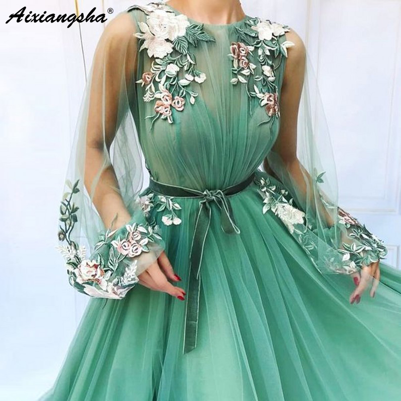 Illusion Long Sleeve Tulle A-Line Mint Green Prom Dresses 2019 Applique Flowers vestidos de festa longo Formal Evening Dress(China)