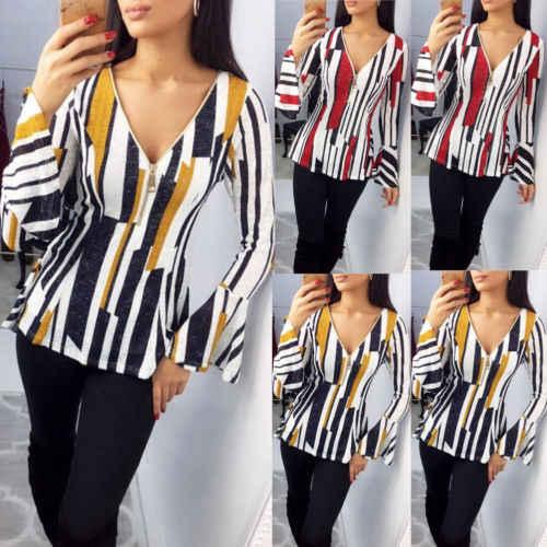 46c7a9c8aa 2019 marca nueva moda mujer manga larga suelta rayas colorido blusa camisa  Casual de verano de