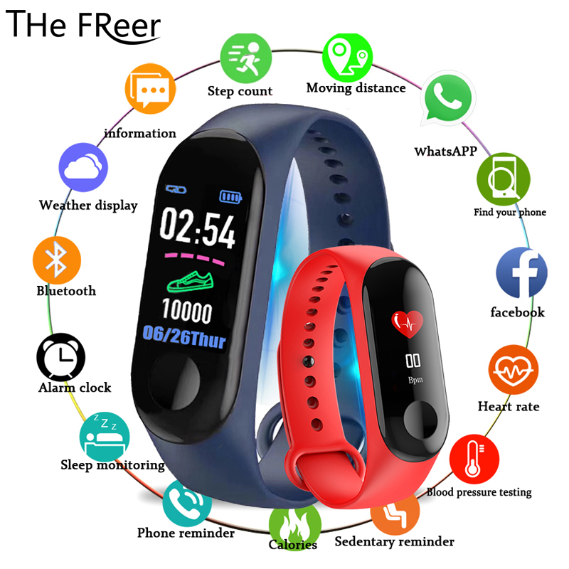 M3 Color IPS Screen Smart Sport Fitness Bracelet IP68 Waterproof Blood Pressure Oxygen Activity Tracker For Men Women watches(China)