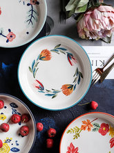 Japanese-style Painted Pottery Bowl Porcelain Tableware Plate Household Dish Plate Soup Bowl Fruits Sand Pull Bowl Tableware(China)