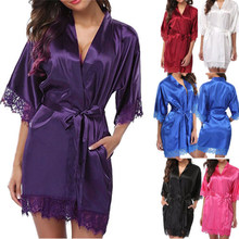 FOCUSNORM New Sexy Women Exotic Dress Satin Robes Wedding Bridesmaid Bride  Gown Kimono Solid G-string Long Sleeve Lace Sleepwear ff3ac1e75c59