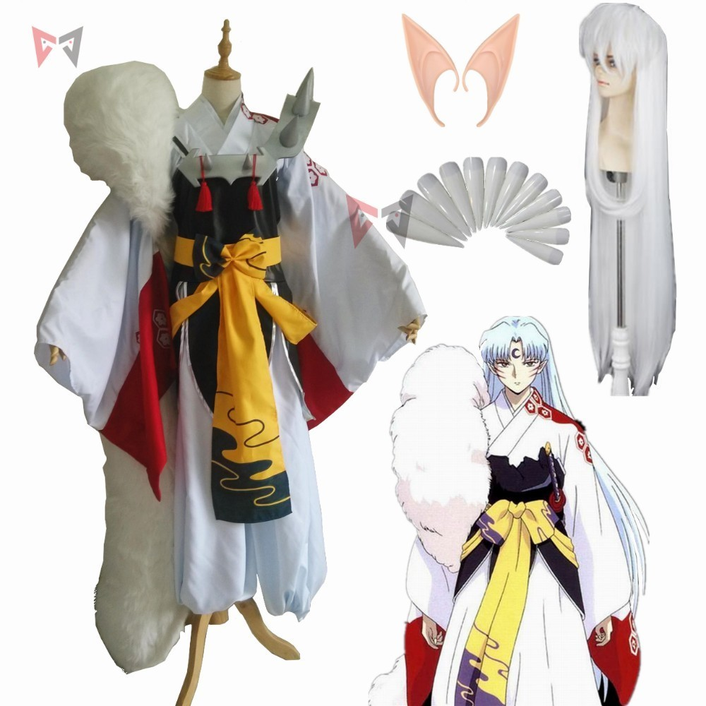 New Anime  Inuyasha sesshoumaru cosplay Costume Carnival Halloween Arthur Curry Fancy Kimono boots wig big tail custom made