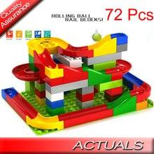 72pcs Run Rolling Ball Rail Blocks Compatible Lego Duplo Building Bricks DIY Funny Assembled Enlighten Model Toys Children