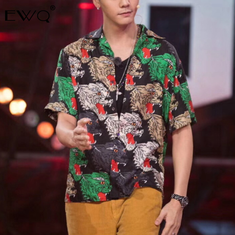 EWQ Summer Men Shirt 2019 Fashion Hit Color Leopard Printed Shirts Camisa Masculina Short Sleeve Blouse Hombre Casual Tops TB489