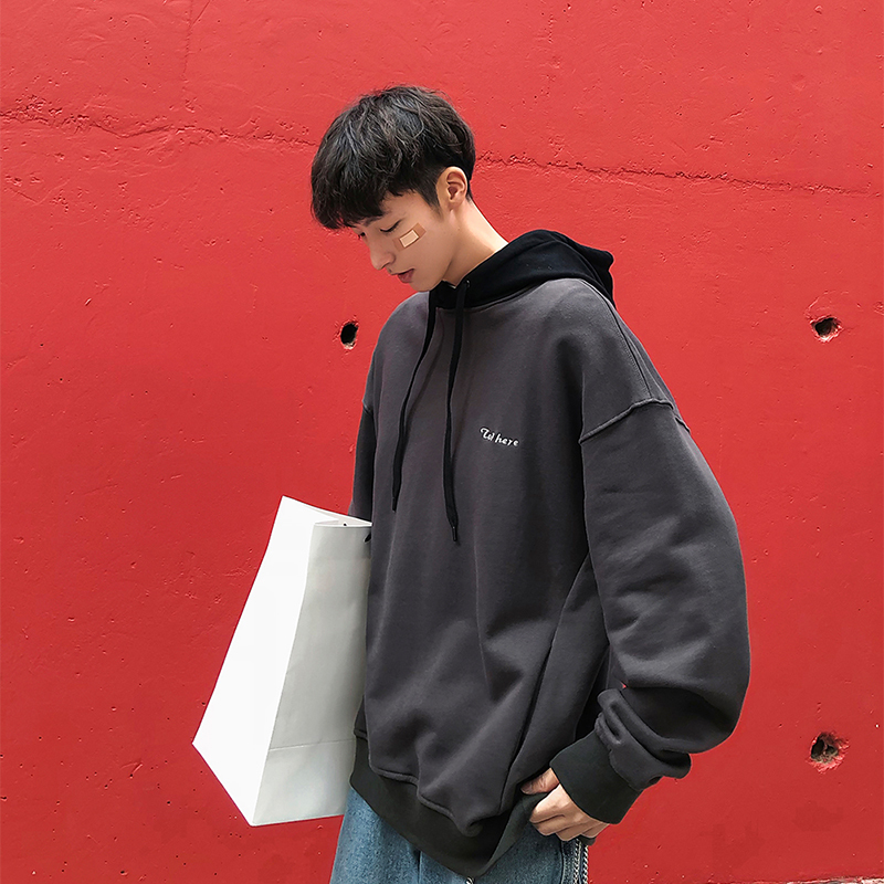 2019 spring new men's Korean version of the contrast color casual fashion letters embroidery hooded pullover loose jacket