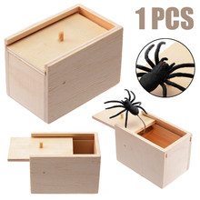 Novelty Hilarious Spider Scary Box Prank Wooden Scary Box Joke Gag Toy For Festival Party Supplies(China)