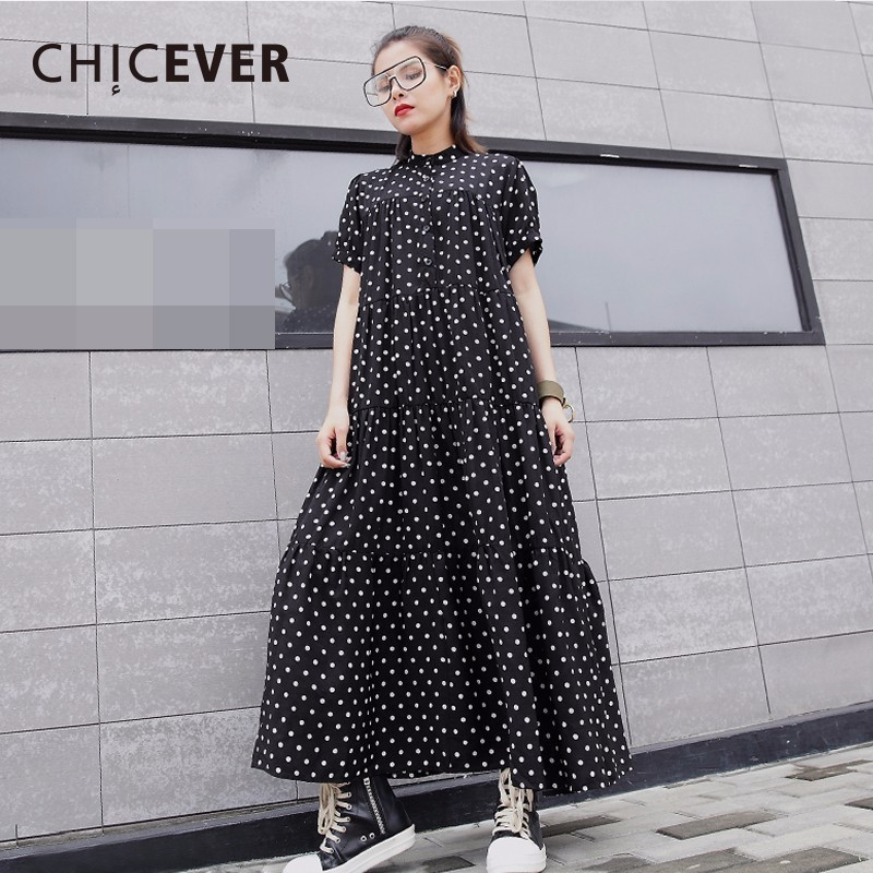 CHICEVER 2018 Summer Dress For Women Dot Chiffon Short Sleeve Stand Loose big Size Women's Dresses Clothes Fashion Casual New