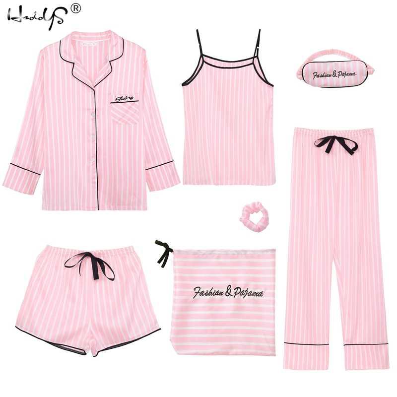 83063b7f29 2019 Spring new women s 7 pieces Pink pajamas sets satin silk lingerie  homewear sleepwear Striped pyjamas