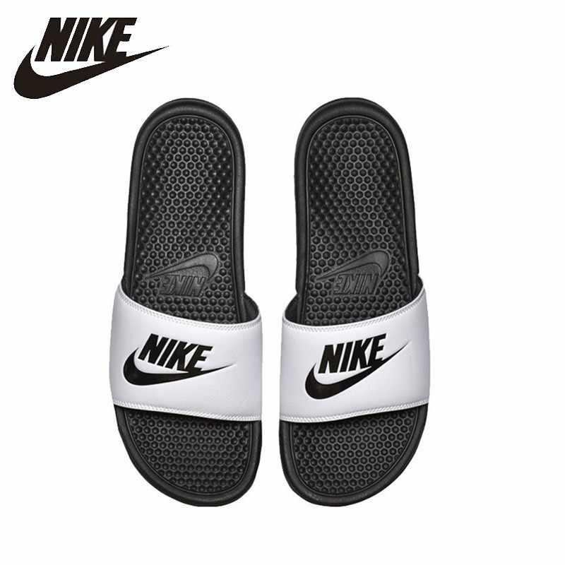 f97634d6 Nike BENASSI JDI черно-белый Спортивные Тапочки Нескользящие удобные  сандалии #343880