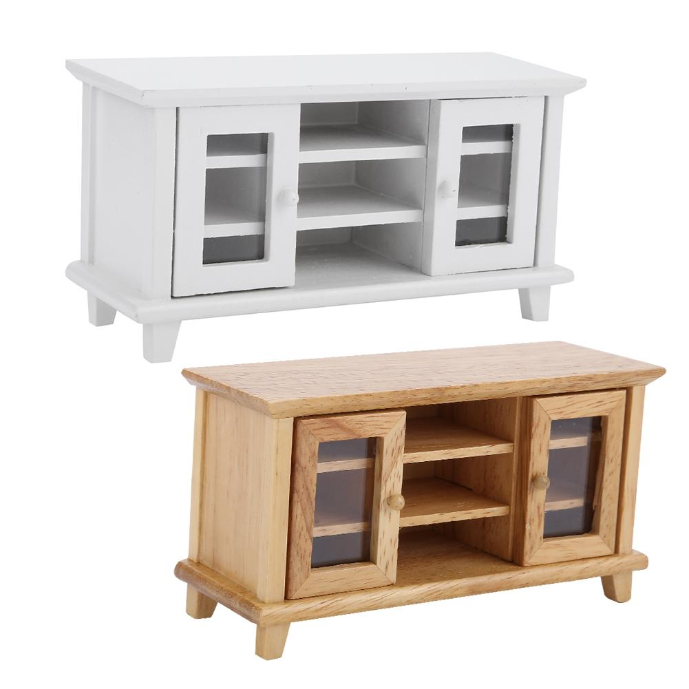 Dolls House Modern White Low TV Cabinet Stand MINIATURE Living Room Furniture