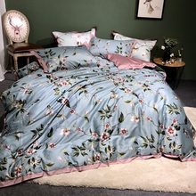 Blue Egyptian cotton duvet cover bedspread bedding set floral plant print Soft Satin blue princess pastoral style bed linen(China)