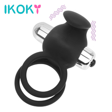 Buy IKOKY Silicone Cock Rings Single Frequency Vibrator Sex Toys Men Clitoris Stimulate Vibrating Penis Rings Delay Ejaculation