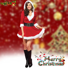 New Women Christmas Dress Mrs Santa Claus Half Sleeve Red Fancy V-neck Outfits  Sexy Cosplay Hooded Dress For Christmas Show 32e379e11b1a