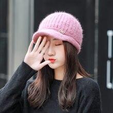 1 piezas para mujer tejer boina sombreros gorras de invierno de 2018 de  punto moda empalme 53a14b5e56a