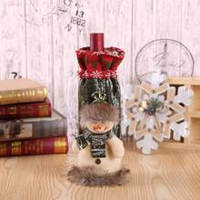Picture Snowman Cute Wine Print For Bottle Old Christmas Elk Cover As Decoration(China)