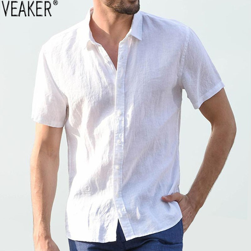 Mens Summer Slim Korean Version of The Loose top Fashionable Solid Colour Short Sleeve Comfortable Blouse