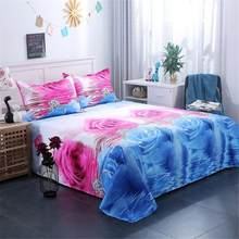 AsyPets 3Pcs/Set Romantic 3D Rose Pattern Printing Bed Sheet Pillow Cover Bedding Set(China)