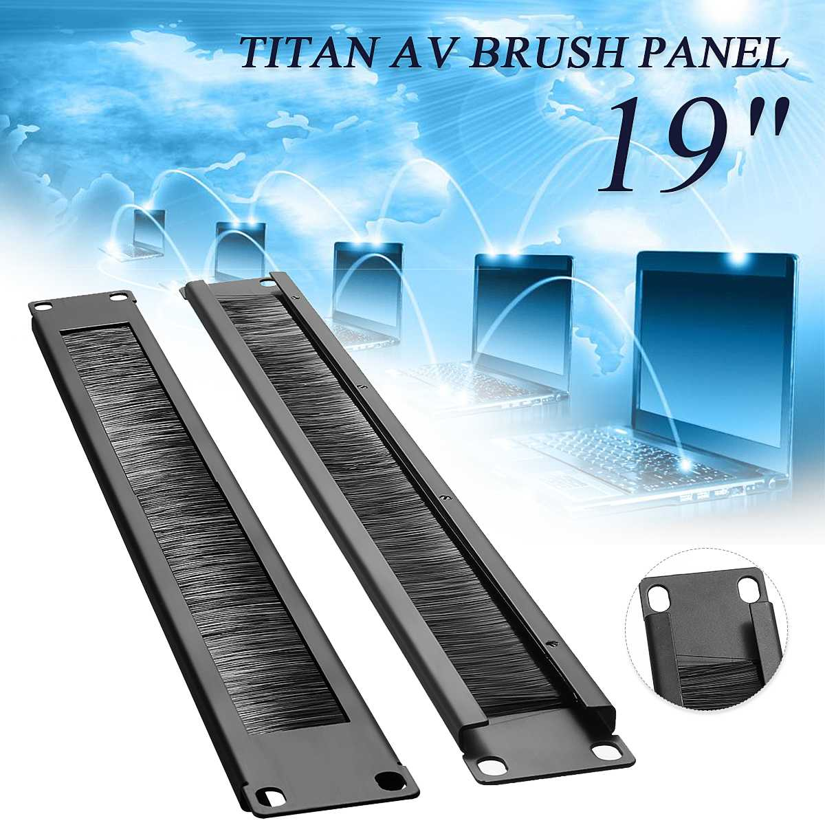 1U 19/'/' Rack Mount Network Cabinet Wire Brush Panel for Cable Management