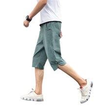 4576 Calções De Linho Verão Homens Elásticos de Cintura Alta Vintage  Shorts Casual Sólidos a 4cc15e86b8a6c