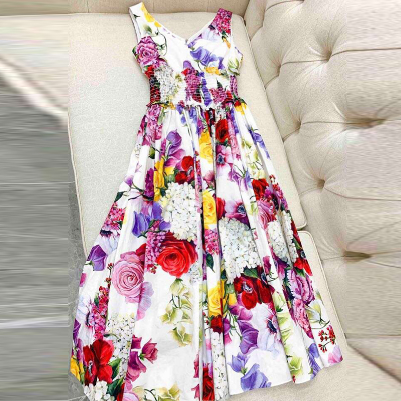 Sleeveless Sweet Dress For Women 2019 High Quality Off The Should Long Dresses O-neck Fashion Print Dress Women