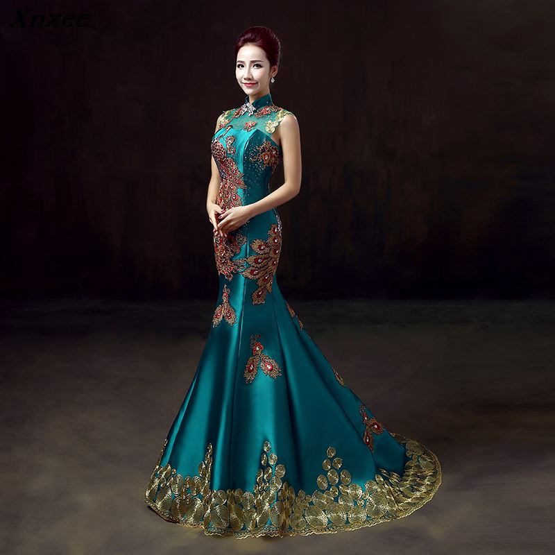 China Wind Embroidery Diamonds 2019 Women's elegant long gown party proms for gratuating date ceremony gala evenings dresses up