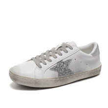 Sneakers Women Flats Shoes Female Shoes Do Old Dirty Shoes Leather Retro Star  Sequins Ladies Casual Shoes Trainers zapatos mujer b077b237faee