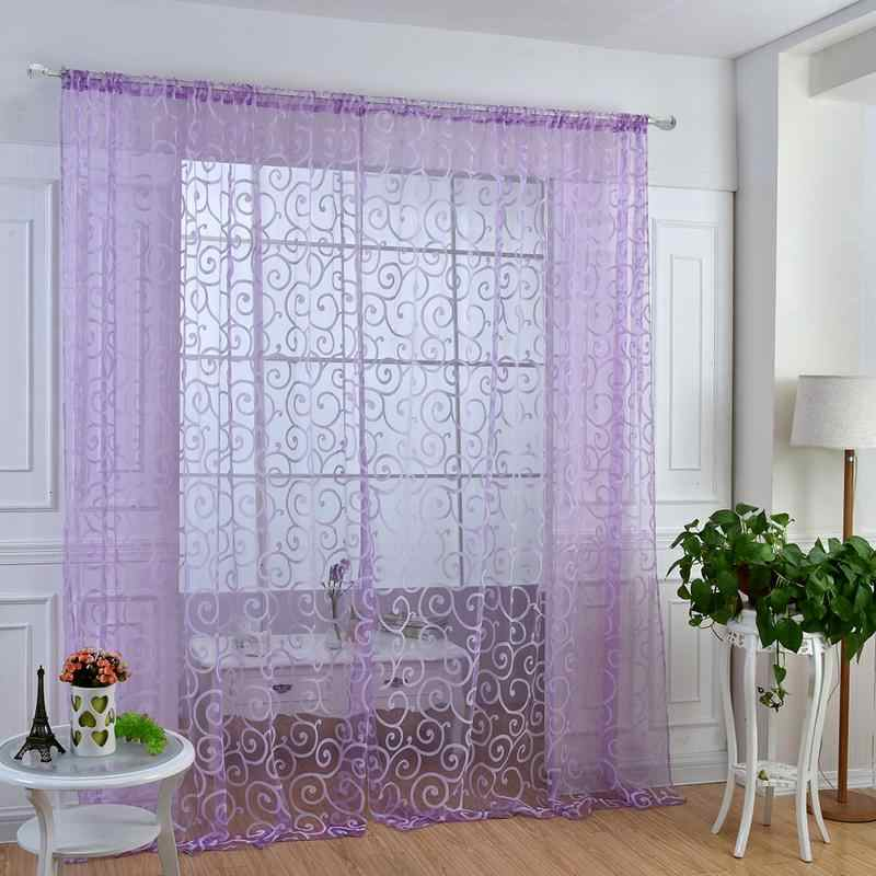Window Curtain Pastoral Floral Tulle Voile Door Scarf Valances Drape Sheer Window Curtains Light Transmission Curtain