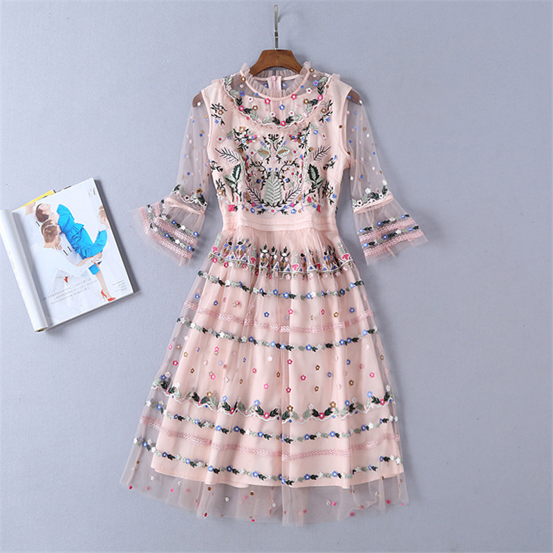 Runway Designer 2019 Spring Summer Dress Women High Quality Rose Pink Floral Embroidery Black Lace Party Vestido Robe Femme Ete
