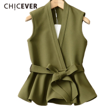 CHICEVER 2018 Autumn 양복 대 한 Women Female Vest Lace Up 프릴 Slim 민소매 Plus Size Women's Vest Coat 패션 한국어(China)