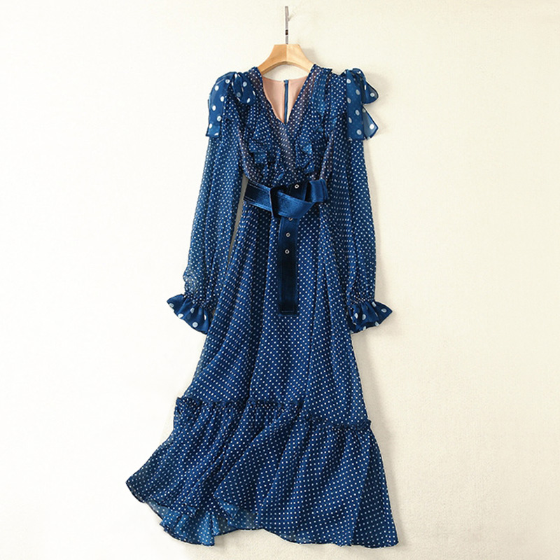 white polka dot blue korean chiffon dress fashion 2019 boho summer dress v neck knot bows belted long sleeve a line ruffle dress