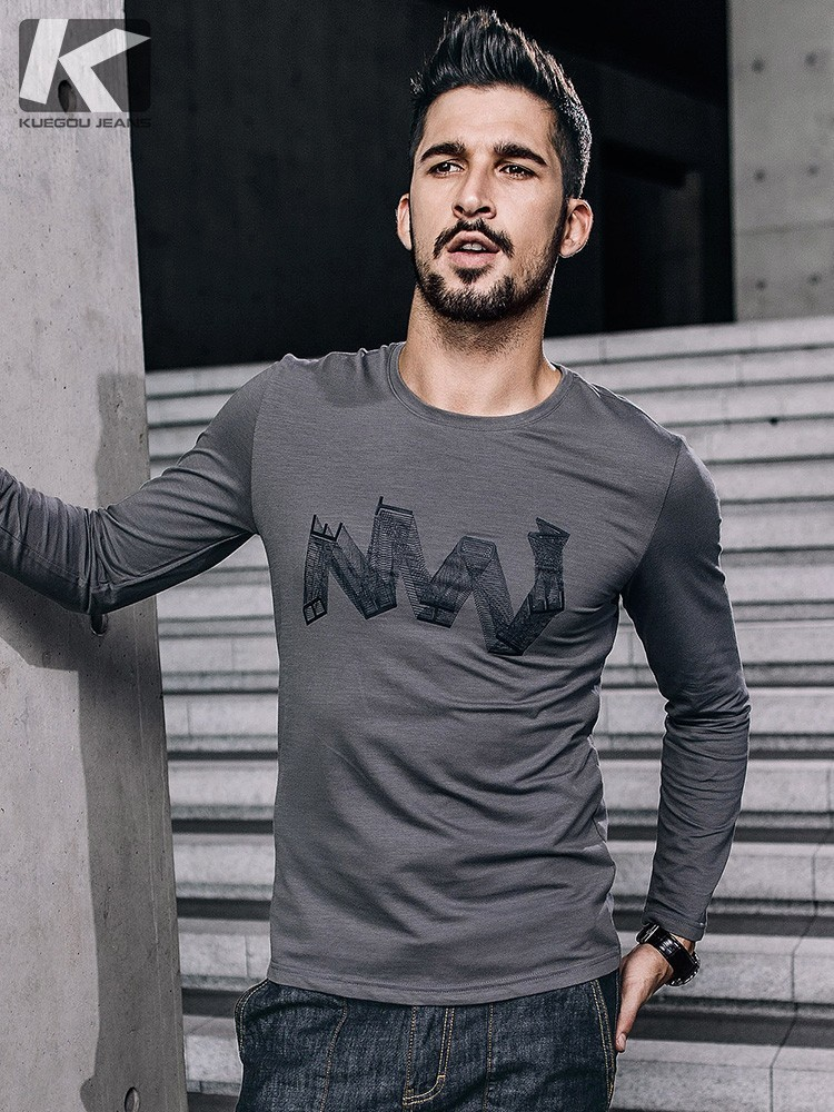 KUEGOU New Autumn Mens Fashion T Shirts Print Gray Color Brand Clothing Man's Long Sleeve Slim Fit T-Shirts Male Tops Tees 0871
