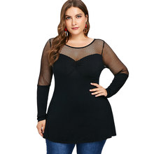Kenancy Sexy Mesh Hollow Out Club Women Shirts Plus Size Fishnet Panel  Tunic Tee Spring Long Sleeves Black Blusas Blouse Tops 3fb77e0cba42