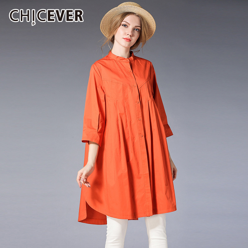 CHICEVER Side Split Long Women's Shirt Stand Collar Three Quarter Batwing Sleeve Feminine Blouse Irregualr Loose 2018 Fashion