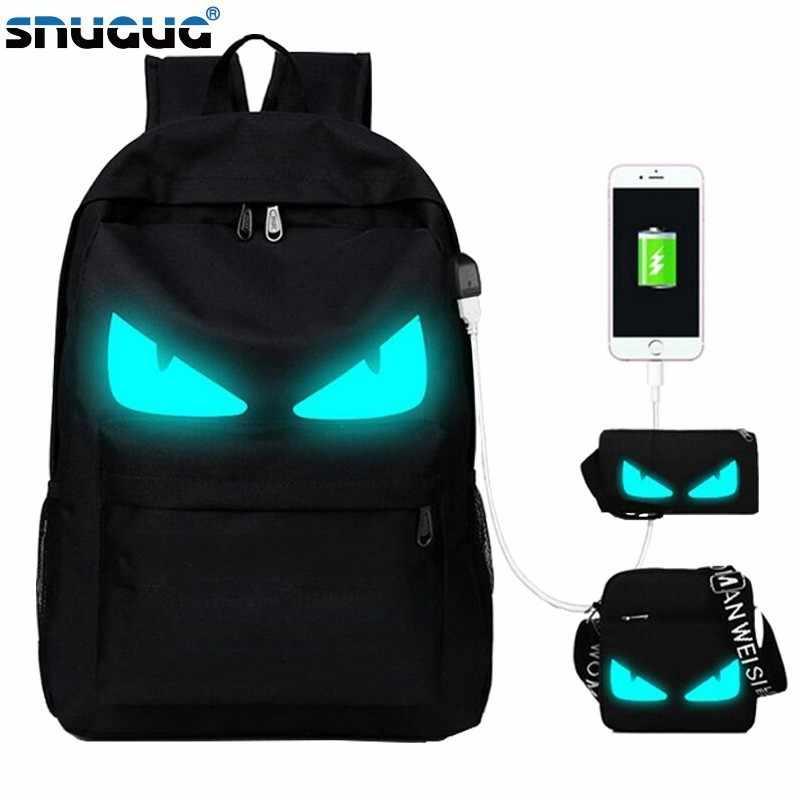 69a9b62d4b84 SNUGUG 3 шт Школа Рюкзак со светящимся рисунком на тему аниме USB зарядка  Рюкзак для ноутбука