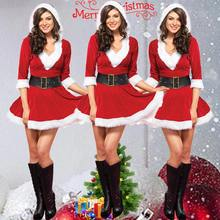 Women Red Sexy Half Sleeve Outfits Mrs Santa Claus Hat Lace V-neck Christmas  Fancy Dress Cosplay c5a5897943c3