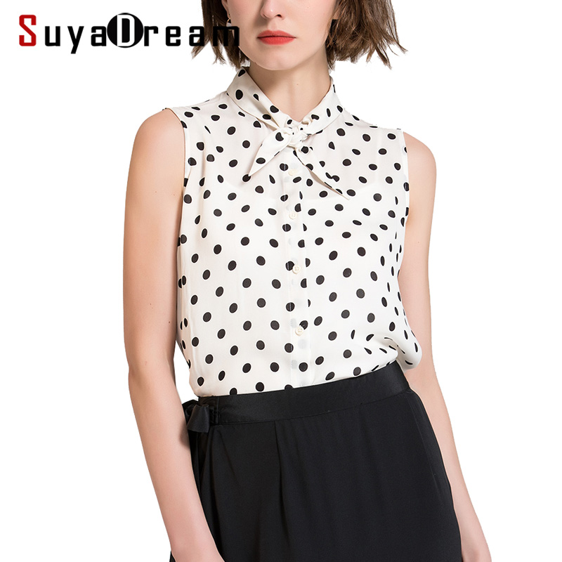 Women Blouse 100%Real silk  Sleeveless Dot Printed Office lady Blouses 2019 Spring Summer New Top shirt White