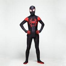 Adulte Hommes Enfants Spider-Man Dans le Spider-Verset Miles Morales Cosplay  Costume Zentai abe38d35cb2