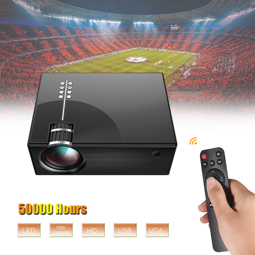 Full HD Portable LCD Projector 1080P Supported 50000 Hours Lamps Life Support TV/ HD/ USB/ VGA/ AV/ Headphone/ SD Card Input
