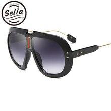 763e78536a Sella Nouvelle Mode Femmes Hommes Surdimensionné Pilote lunettes de Soleil  Rétro Rond Épais Cadre Étoiles Décoration