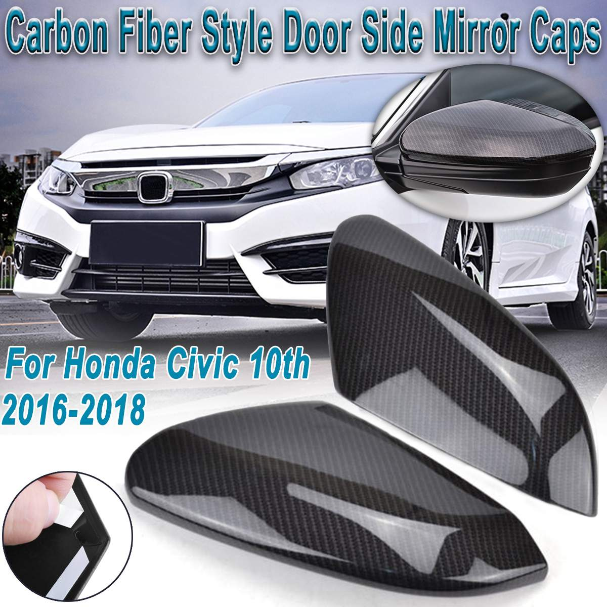 Carbon Fiber Side Mirror Cover For Honda Civic 10th 2016-2019 Rearview Cap