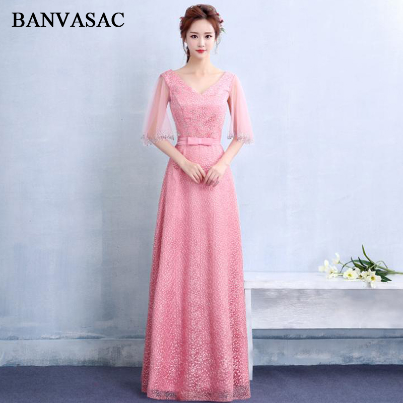 BANVASAC Sexy Crystal Deep V Neck Lace A Line Long Evening Dresses Party Tulle Half Sleeve Bow Sash Backless Prom Gowns