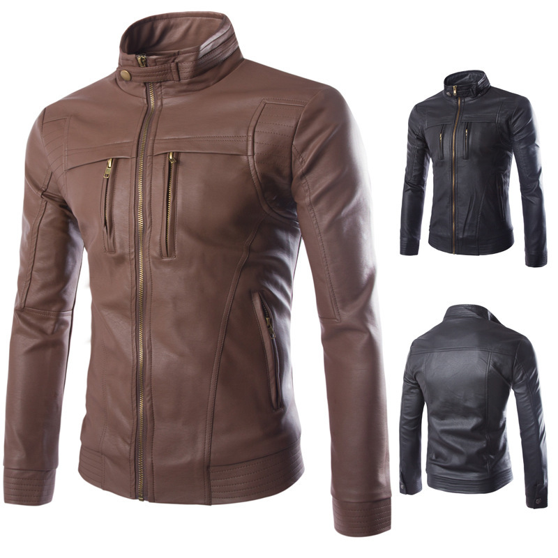 New Men Zipper PU Leather Jackets  Autumn Winter Fashion Casual Biker Jacket Male Outerwear Motorcycle Man Coats 2 Color