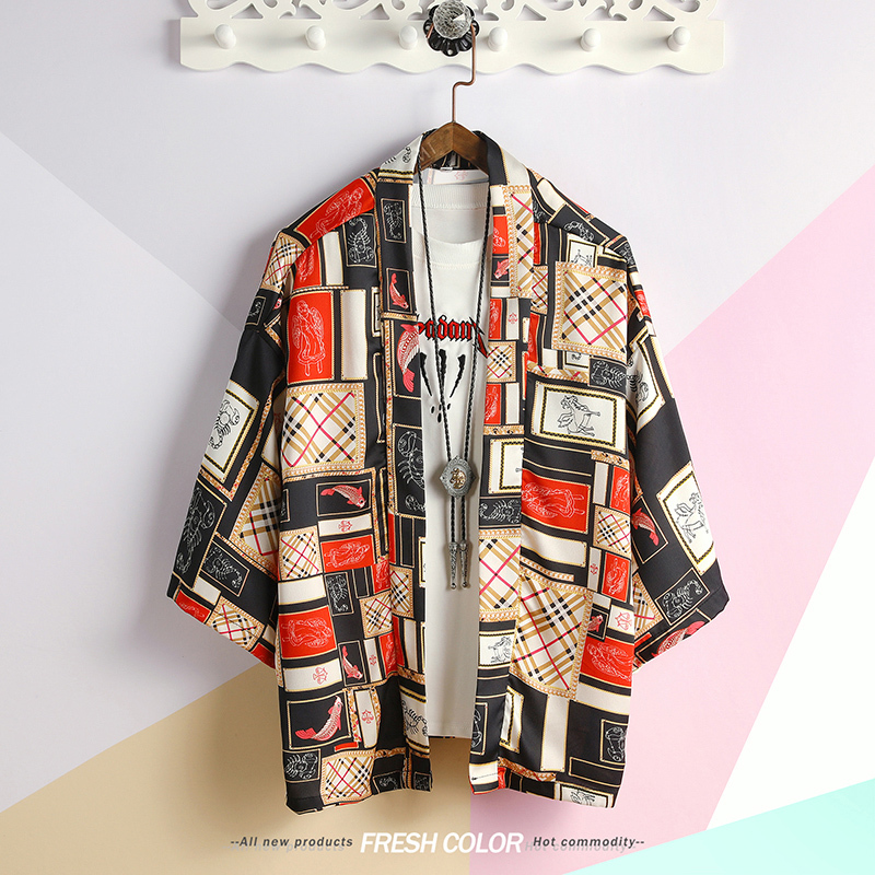 #4205 Summer 2019 Loose Men Kimono Jacket Japanese Retro Lovers 3d Printed Harajuku Kimono Cardigan Sunscreen Coat Plus Size 5XL
