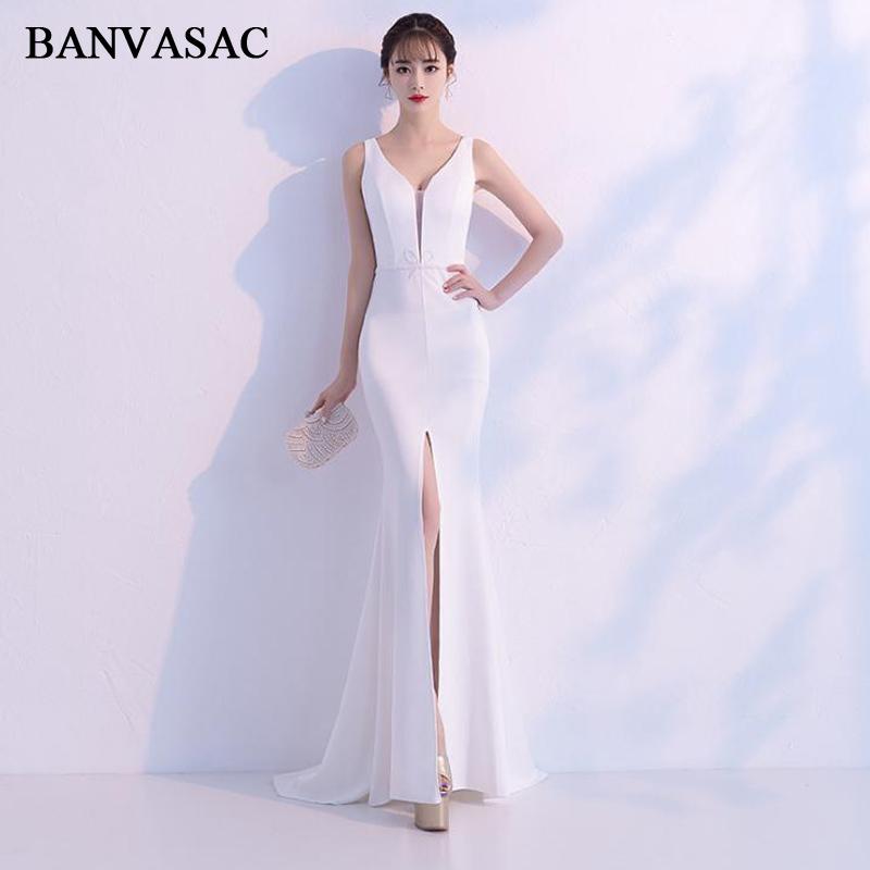 BANVASAC 2019 Illusion Deep V Neck Split Mermaid Long Evening Dresses Party Crystal Bow Sash Backless Prom Gowns