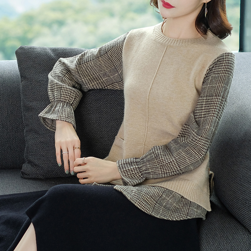 Brand Sweater 2019 Spring Autumn Women Sweater New Casual Hit Color O-neck Fake Two Piece Stitching Knit Pullover Sweater Female