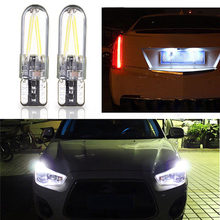 2pcs Cars/Trucks License Plate Lights 12~24V T10 194 168 W5W White COB LED Glass(China)