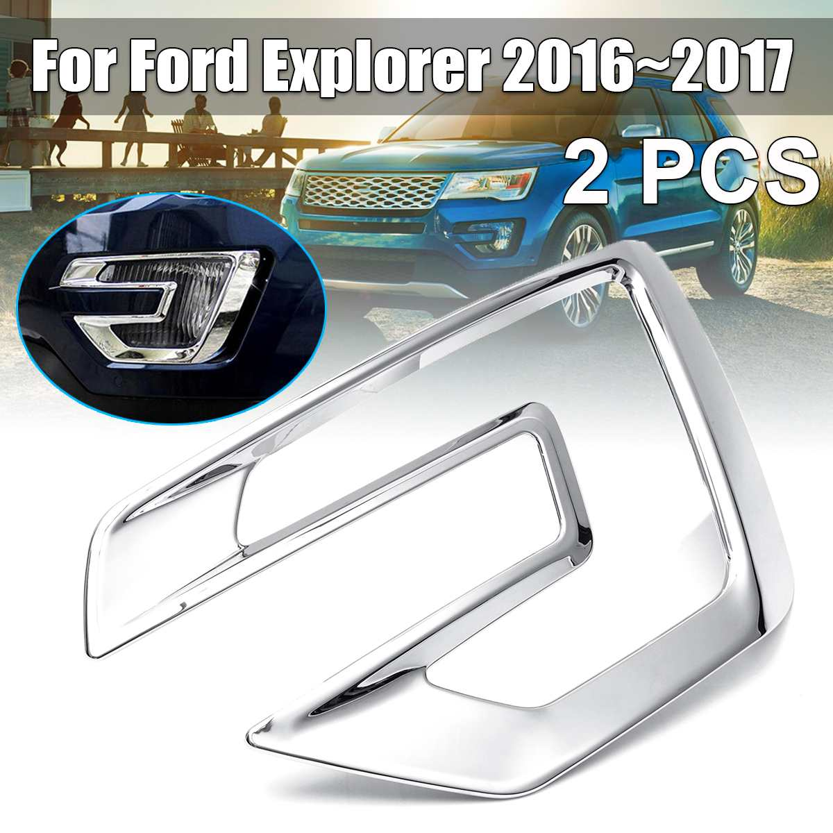 2Pcs for F ord Explorer 2016-2017 ABS Chromed Accessories Front Fog Light Lamp Trim Molding Garnish Strip Eyebrow Eyelid(China)