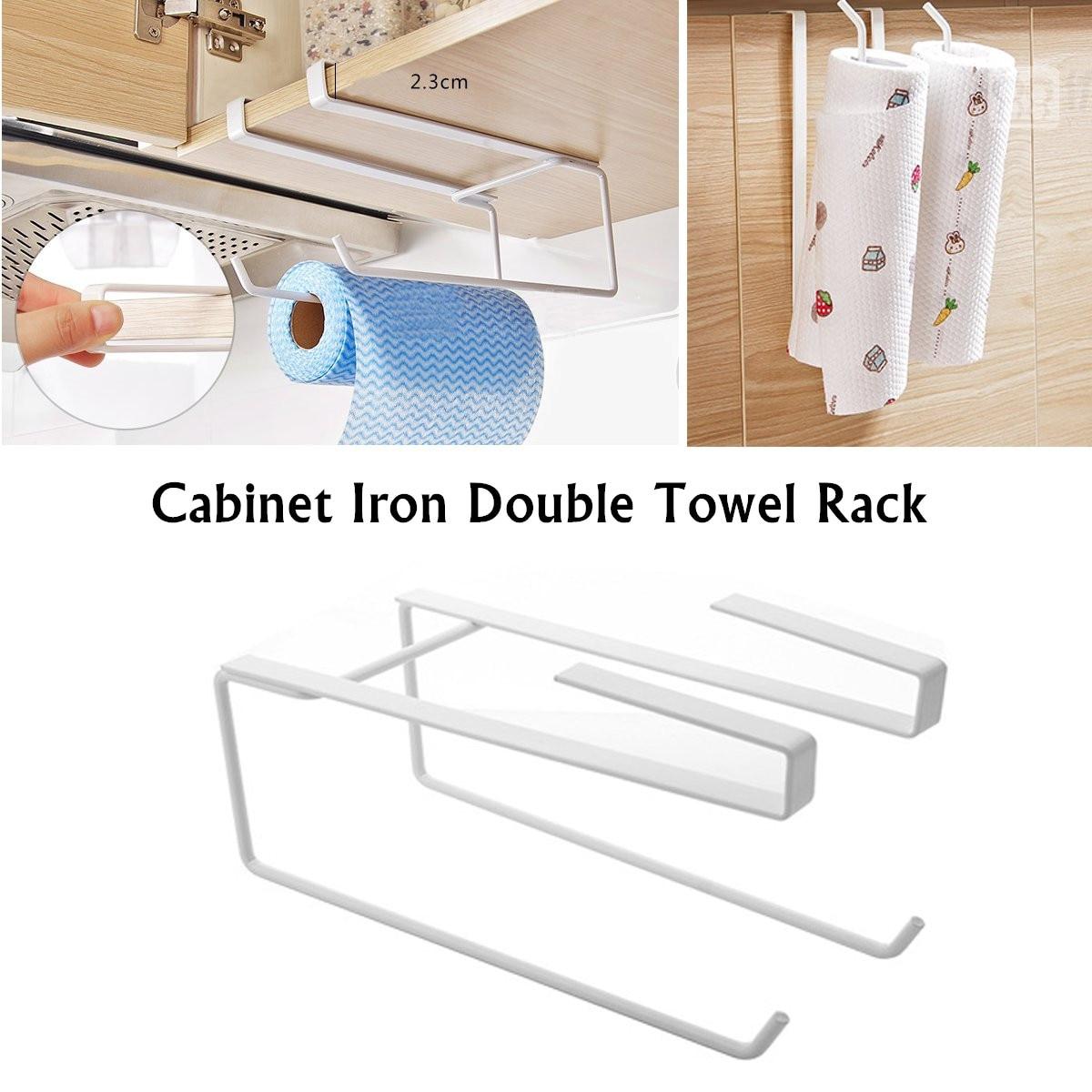 Adhesive Paper Towel Wooden Holder Storage Rack Organizer Tissue Shelf Under Cabinet Cupboard For Kitchen Bathroom Home Qiang Bathroom Fixtures Home Improvement